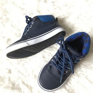 Navy Blue Faux Leather Sneakers 11